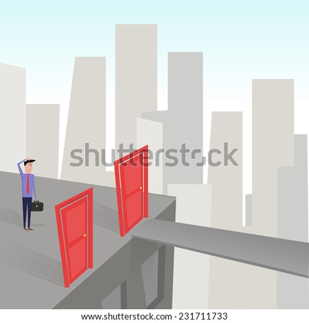 Human taking the decision of his life. - stock vector