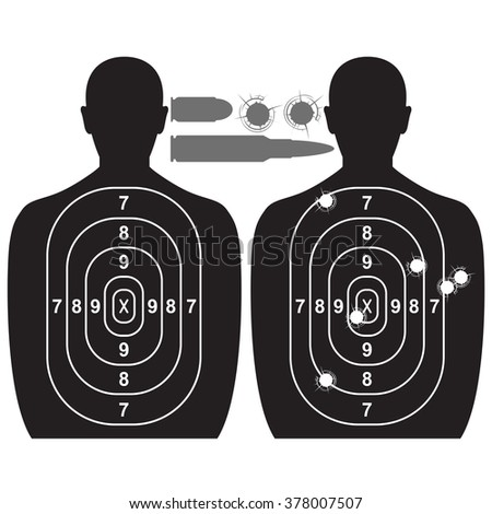 Human target, bullet holes and cartridge case - stock vector