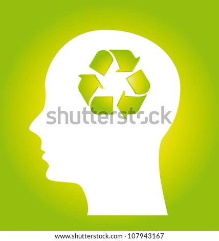 human think about recycling, green. vector illustration - stock vector