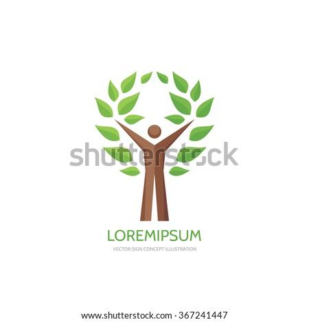 Human tree - vector logo concept illustration. Ecology logo sign. Nature logo sign. Eco logo sign. Human character logo. People logo. Vector logo template. Design element.  - stock vector