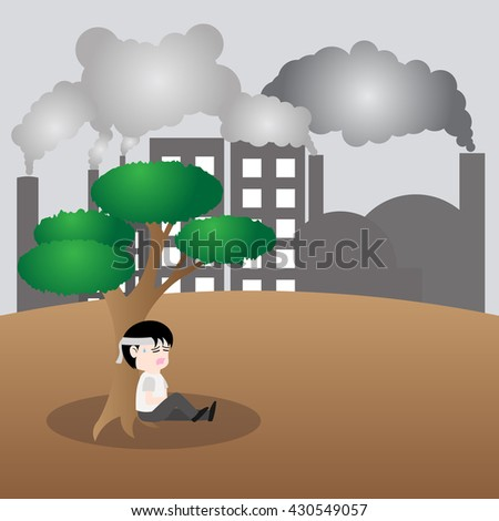 Human want to be tree, concept save earth ,vector - stock vector