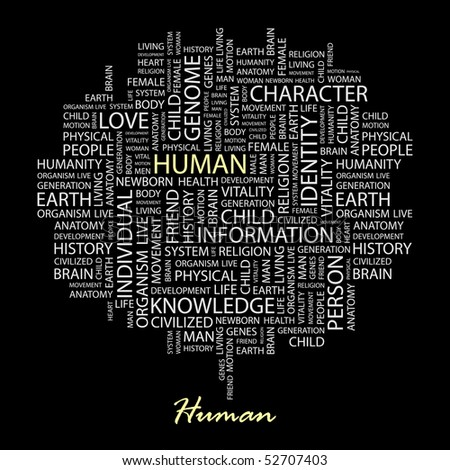 HUMAN. Word collage on black background. Vector illustration. - stock vector
