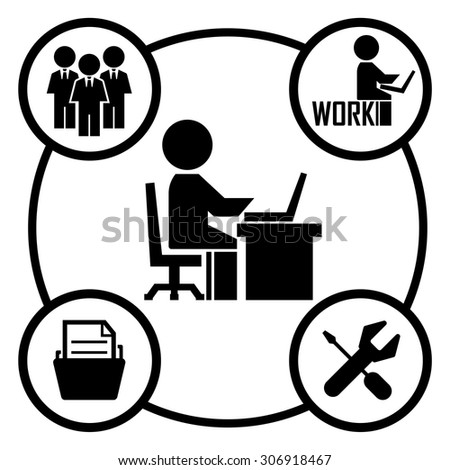 human working on computer icon - stock vector