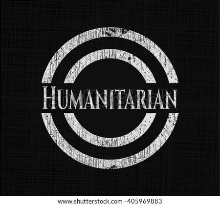 Humanitarian written on a blackboard - stock vector