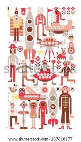 Humans meet friendly space travelers from other planets. Isolated vector illustration on white background. - stock vector