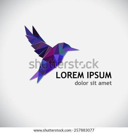 hummingbird flying bird logo of triangles - stock vector