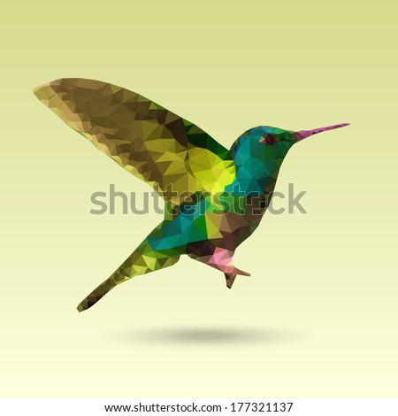 Hummingbird made with triangles. Vector design. - stock vector