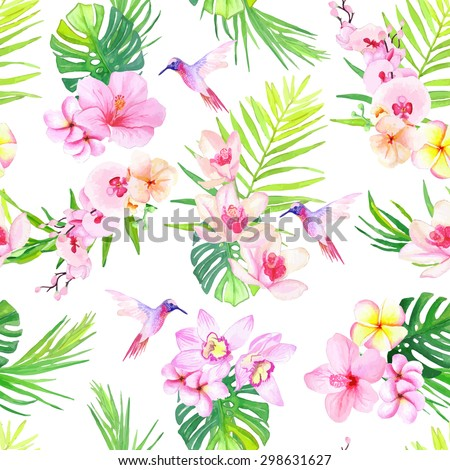 Hummingbirds and tropical flowers seamless vector pattern - stock vector