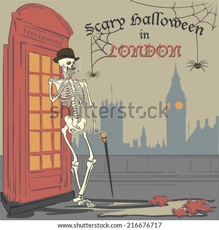 Humorous halloween Greeting card with a smoking skeleton in bowler hat and with a cane. EPS8 vector illustration. - stock vector
