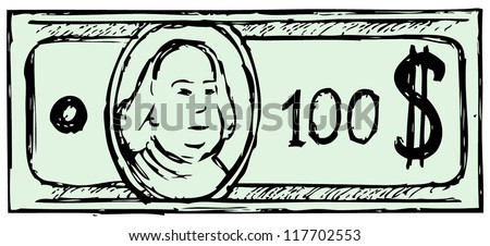Hundred dollar bill. Doodle style - stock vector