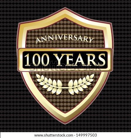 Hundred Years Anniversary Golden Shield - stock vector