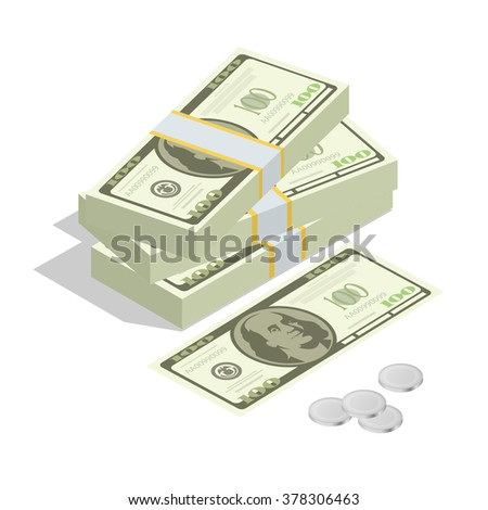 Hundreds of dollars. Stacked pile of cash. Stack of US Dollars on white background. Flat 3d isometric vector illustration.  - stock vector