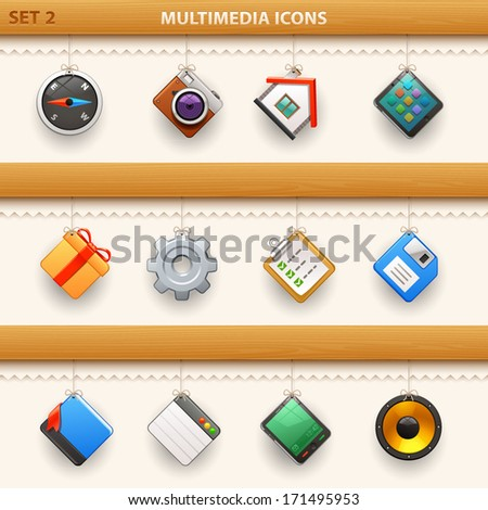 hung icons - set 2 - stock vector