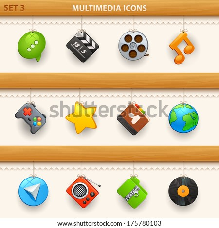 hung icons - set 3 - stock vector