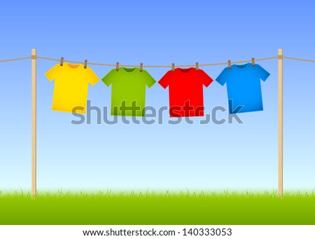 Hung T-shirts on washing line with grass and blue sky in the background - stock vector