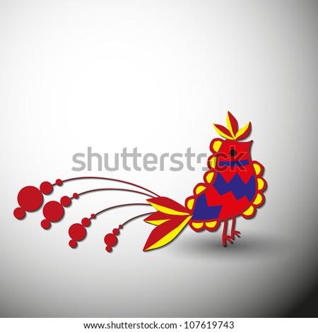 hungarian folk bird vector art. - stock vector