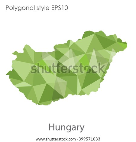 Hungary map in geometric polygonal style.Abstract triangle,modern design background. - stock vector