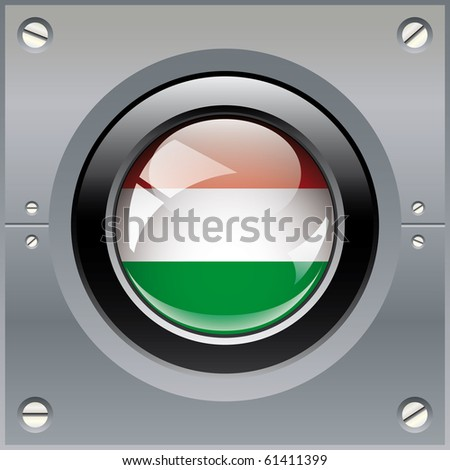 Hungary shiny button flag vector illustration. Isolated abstract object on metal background. - stock vector