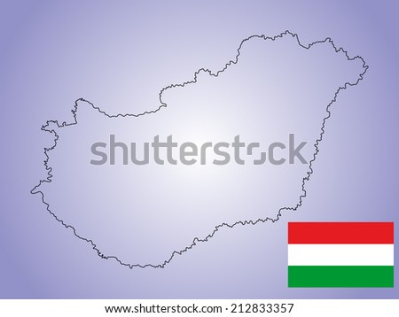 Hungary vector map and vector flag isolated on background. High detailed illustration.  - stock vector