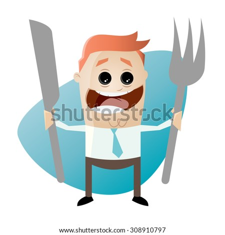 hungry cartoon man with fork and knife - stock vector
