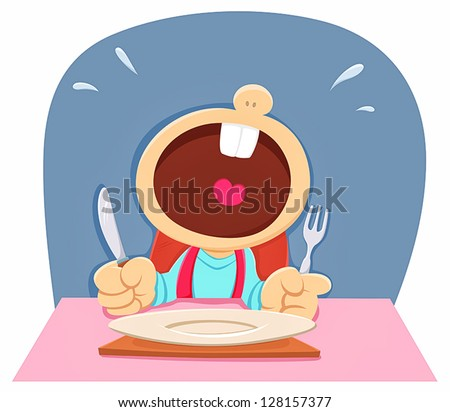 hungry child crying - stock vector