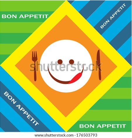 Hungry emoticon with fork and knife, bon appetit - stock vector