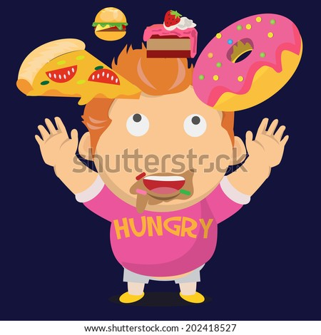 hungry fat boy and his falling dessert - vector illustration - stock vector
