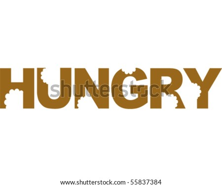hungry word - stock vector