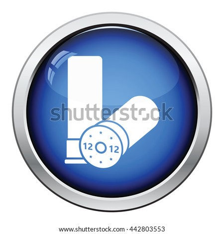 Hunt gun ammo icon. Glossy button design. Vector illustration. - stock vector