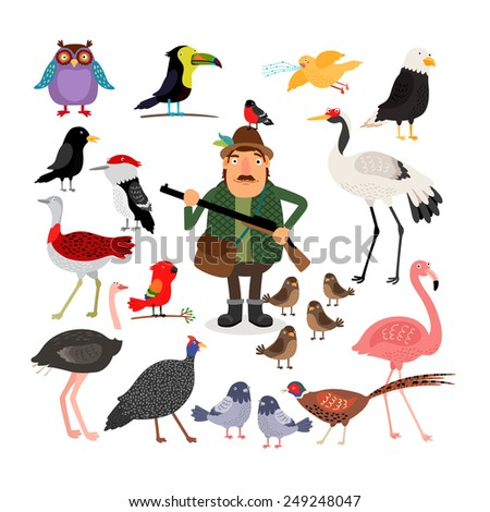 Hunter holding a shotgun. A variety of birds, flamingos, eagle, owl, sparrows and pigeons. Fowling. Vector illustration on white background - stock vector