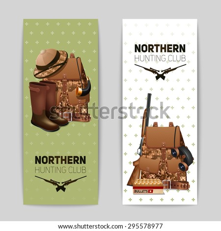 Hunting banners vertical set with realistic backpack rifle and hunter boots isolated vector illustration - stock vector