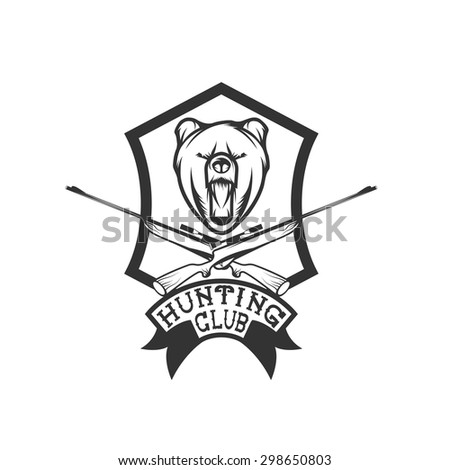 hunting club crest with carbines and bear - stock vector