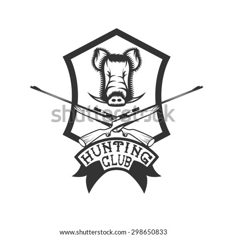 hunting club crest with carbines and boar - stock vector