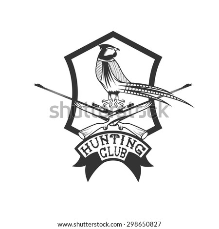 hunting club crest with carbines and pheasant - stock vector