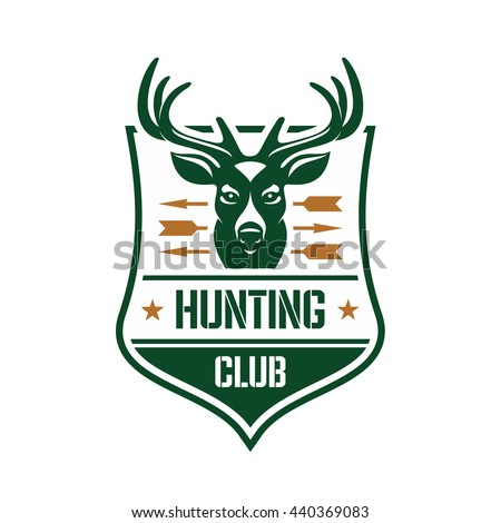 Hunting club heraldic badge design template for association of hunters or sporting club design with a head of a red deer stag pierced by arrows on a shield - stock vector