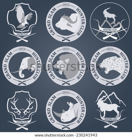 Hunting club label collecton. Grand safari logos and budges. Vector illustration - stock vector