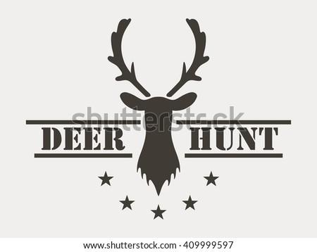 Hunting club logo in vintage style - Deer hunt. Vector illustration. - stock vector