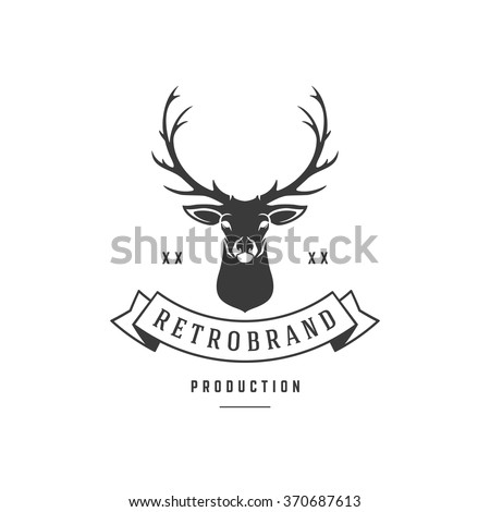 Hunting Club Logo Template. Deer Head and Horns Silhouette Isolated On White Background. Vector object for Labels, Badges, Logos and other Design. Deer Logo, Hunter Logo, Deer Hunting, Retro logo. - stock vector