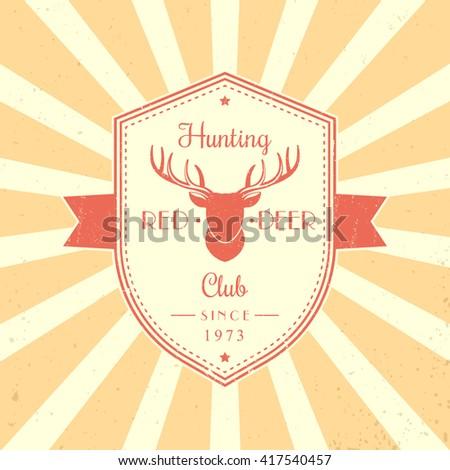 Hunting Club vintage emblem, badge, logo with red deer head, shield shape logo design, vector illustration - stock vector