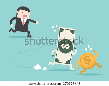 Hunting grab money. Flat design for business financial marketing banking advertisement office people property in minimal concept cartoon illustration. - stock vector