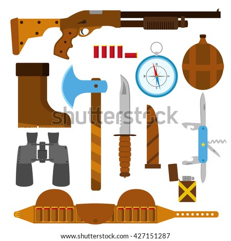 Hunting icons flat set with knife, axe, shotgun, case, lighter, pen-knife, compass, shell, bullets, binoculars, bottle and boots. Isolated vector illustration. - stock vector
