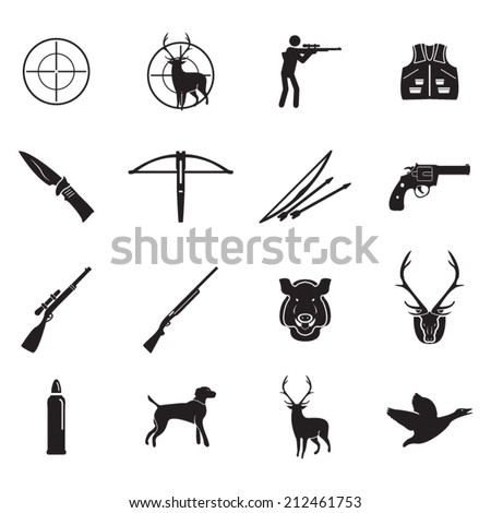 Hunting icons set - stock vector