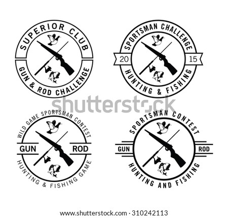 Hunting label badge - stock vector