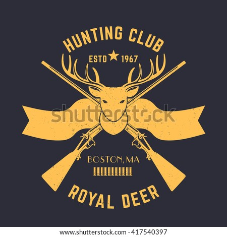 Hunting logo, vintage emblem with deer head and hunting rifles, vector illustration - stock vector