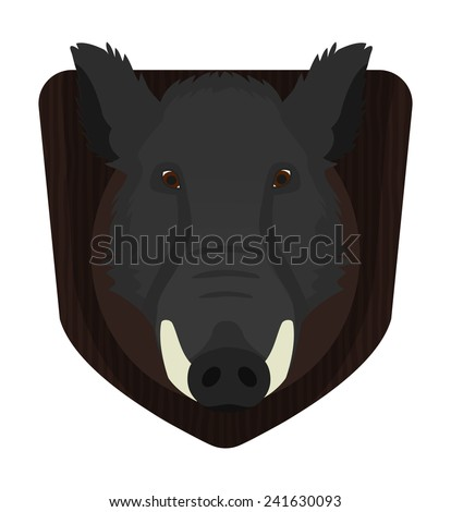 Hunting trophy. Stuffed taxidermy wild boar head with big tusks in wood shield. Color no outline illustration isolated on white  - stock vector