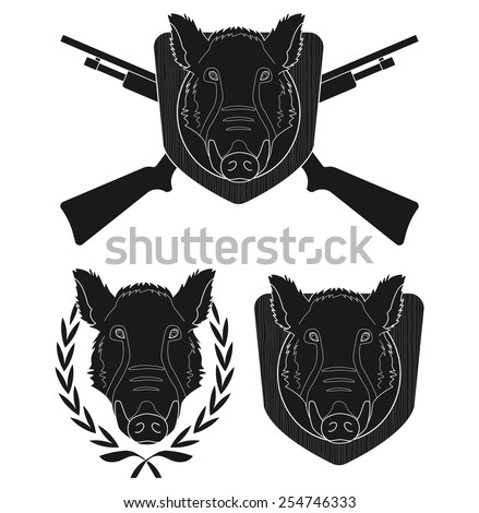 Hunting trophy. Wild boar head with 2 crossed shotguns, laurel wreath, wood shield. Vector black clip art silhouette illustration isolate on white - stock vector
