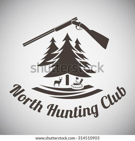 Hunting Vintage Emblem. Opened Hunting  Gun, Fir Tree, Deer Silhouette and Trap. Suitable for Advertising, Hunt Equipment, Club And Other Use. Dark Brown Retro Style.  Vector Illustration.  - stock vector