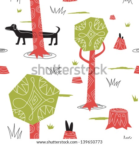 hunting wild rabbits with a dog vector seamless background - stock vector