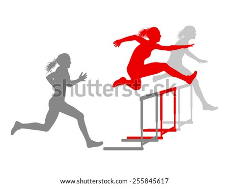 Hurdle race woman barrier running vector background winner overcoming difficulties concept - stock vector