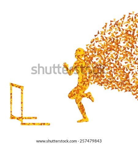 Hurdle racer woman barrier running vector background. Winner overcoming difficulties concept - stock vector